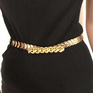 60's gold tone coin stretch belt